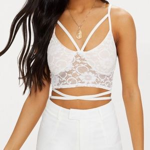 White Lace Harness Detail Bralet
